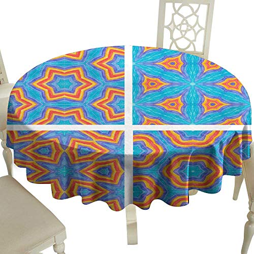 WinfreyDecor Elegance Engineered Tablecloth Set of Abstract Mosaic Colorful Seamless Wallpaper Texture backg Indoor Outdoor Camping Picnic ()