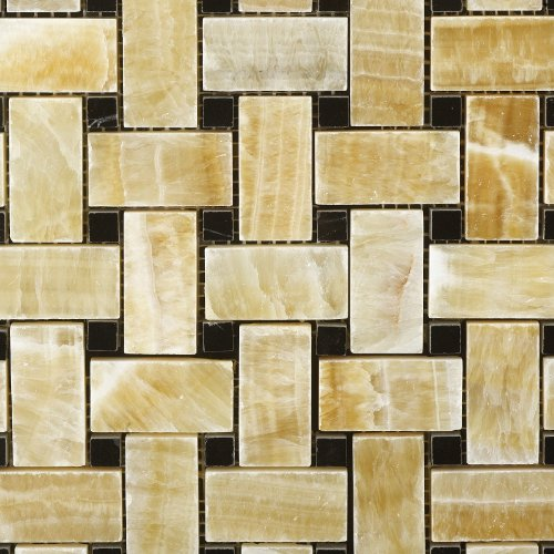 Honey Onyx Polished Basketweave Mosaic Tile w/ Black Dots - Lot of 50 sq. ft. by Oracle Tile & Stone (Image #1)