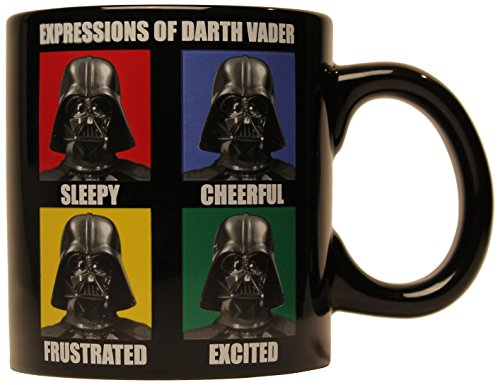 Silver Buffalo SW7734 Star Wars Darth Vader Grid Ceramic Jumbo Mug,...