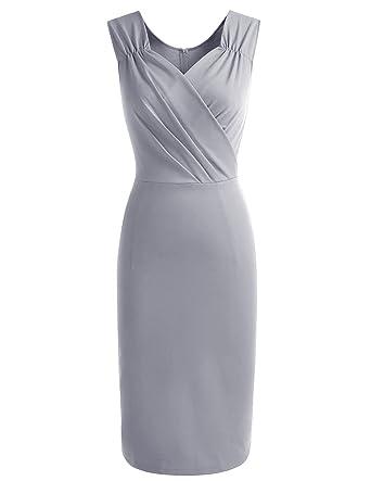 Gardenwed Womens Retro 1950s Sleeveless V-neck Slim Business Pencil Dress Wear to Work Cocktail