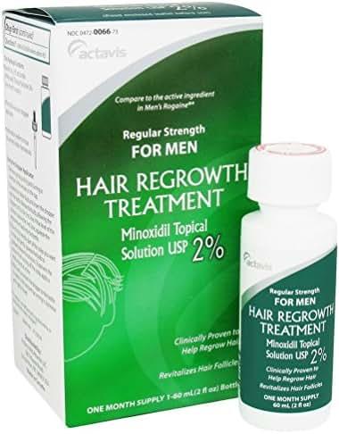 Actavis Men's Minoxidil 2% Regular Strength Hair Regrowth Treatment Solution, 2 Fluid Ounce (Packaging may vary)