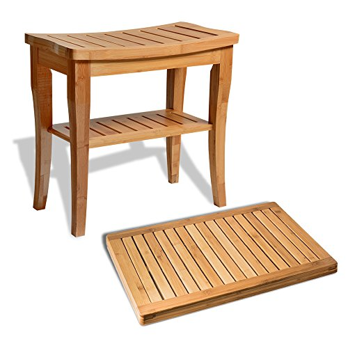 Bambusi Shower Stool Bench with Floor Mat - 100% Natural Bamboo Seat Bench & Shower Floor Mat for Indoor and Outdoor Decor