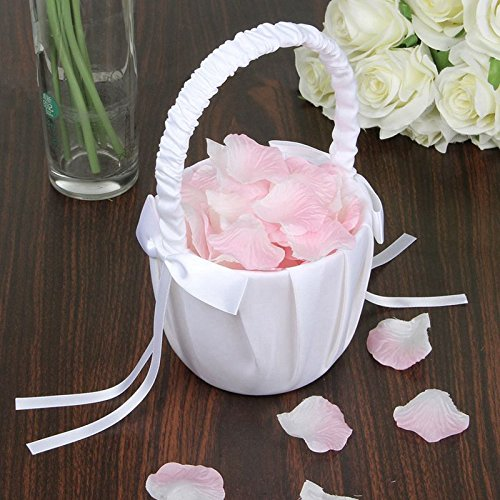 Agordo 3X(Soft Satin Bowknot Rinbon Flower Girl Basket for Wedding Ceremony Party W5Z8 by Agordo (Image #1)