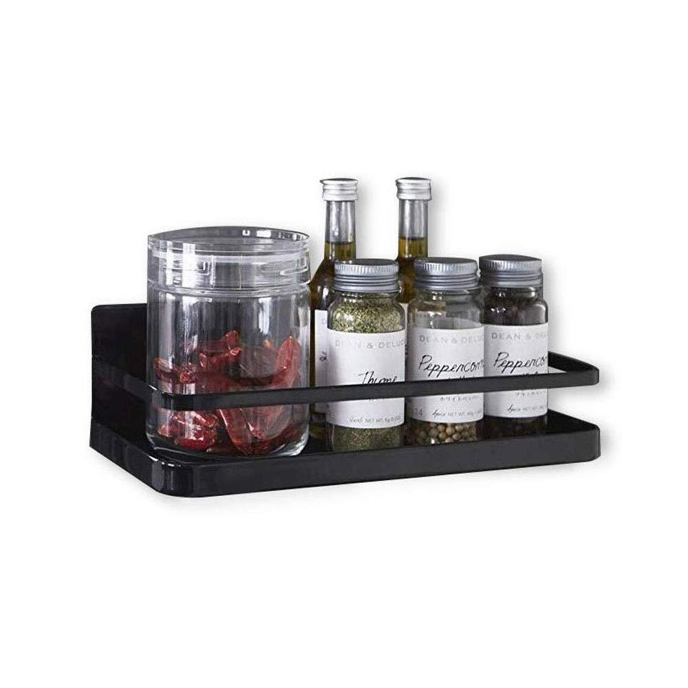 Refrigerator Spice Rack Organizer Single Tier Magnetic Fridge Spice Storage, Black