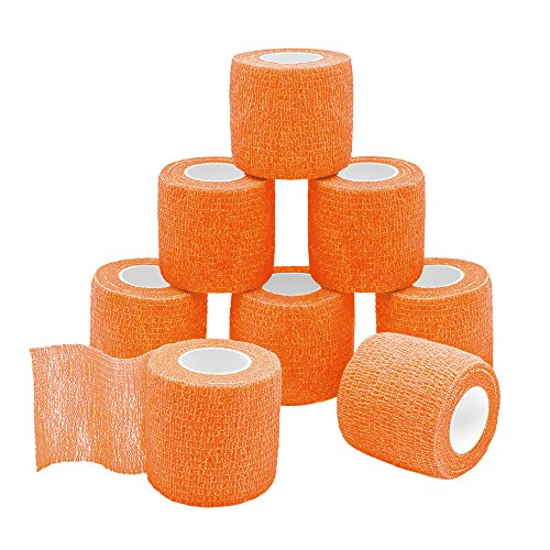 - GooGou Self Adherent Wrap Bandages Self Adhering Cohesive Tape Elastic Athletic Sports Tape for Sports Sprain Swelling and Soreness on Wrist and Ankle 8PCS 2 in X 14.7 ft (orange)