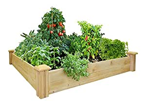 "Greenes Fence Raised Garden Bed, 48"" L x 48"" W x 7"" H, Cedar"