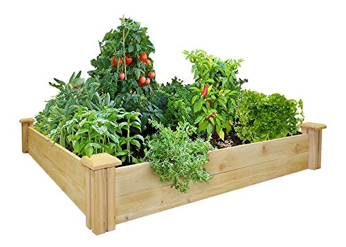 Greenes Fence Raised Garden Bed, 48'' L x 48'' W x 7'' H, Cedar by Greenes Fence