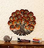 Collectible India Metal Decorative 3D Brown & Golden Wish Tree Wall Hanging Art Decor Sculpture with Back Led Lights (Size : 30 x 28 Inches)