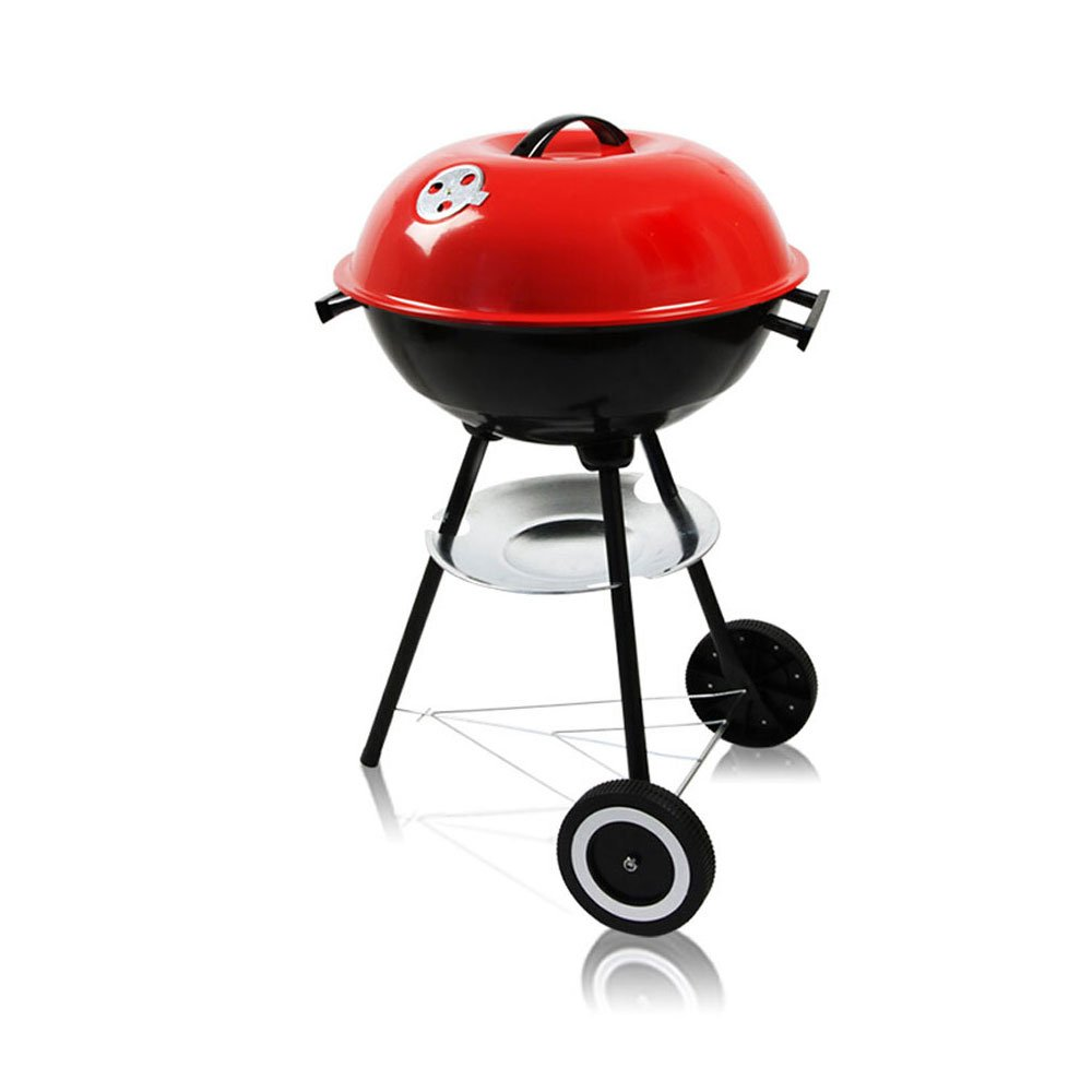 Outdoor Barbecue With Wheels Round BBQ Three-legged Barbecue Stove With Storage Shelf Portable Pot Lid Grill 3-8 People Home Garden Grill Red ( Size : 7044CM )