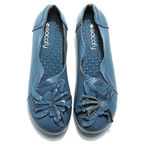 Scarpe Da Donna Socofy Scarpe, Blocco Di Cuoio Scarpe Tacco Medio Vintage A Mano Fiore Passeggiate Allaperto Scarpe Casual Blu