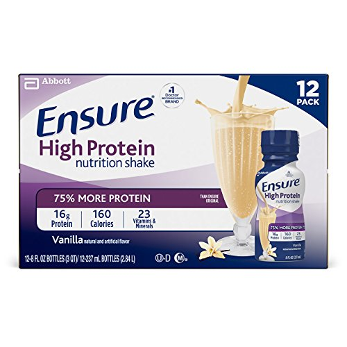 Ensure High Protein Nutrition Shake with 16 grams of high-quality protein, Meal Replacement Shakes, Low Fat, Vanilla, 8 fl oz (12 Count)