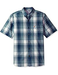 Men's Big and Tall Essential Plaid Button Down Collar Ss...