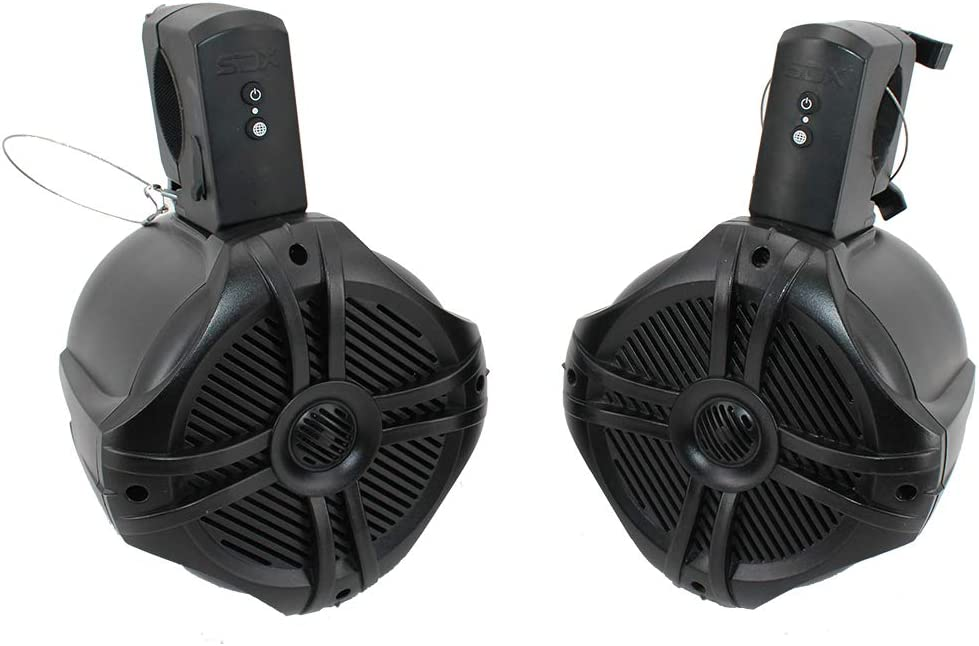 6.5 inch 350W Fully Wireless Bluetooth Marine Speaker System - Wakeboard Tower//Waketower and Fits Rollbar//Rollcage Rechargeable Pair No Receiver Needed No Wiring//Cables Needed SDX Pro Audio