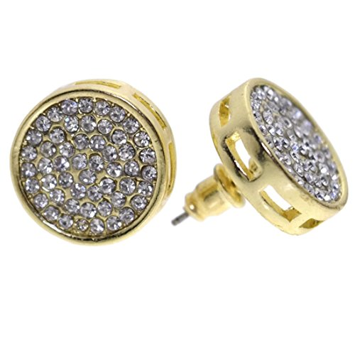 Ring Circle Pave Luxurious - Round Micro Pave Earrings 15MM Gold Tone Circle Huge Big Iced-Out Hip Hop Set
