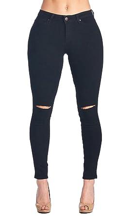 e8b14fc6b31 Ermonn Women's Knee-Cut Ripped Stretch Skinny Jeans Denim Leggings ...