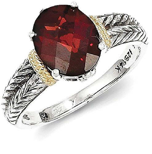 ICE CARATS 925 Sterling Silver 14k Red Garnet Band Ring Size 8.00 Stone Gemstone Fine Jewelry Gift Set For Women Heart by ICE CARATS