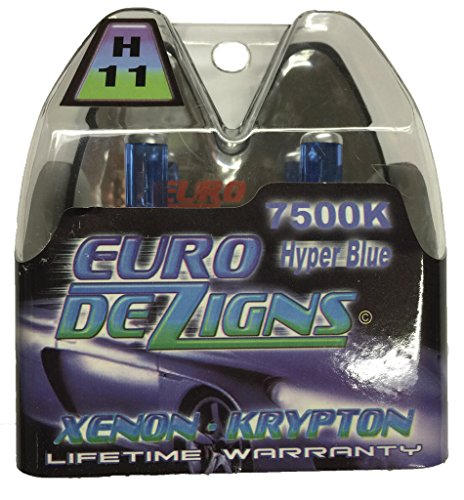 (EuroDezigns H11 White/Blue Headlights - Low Beam 7500k Xenon-Krypton HID Halogen Replacement Bulbs - (Pair))