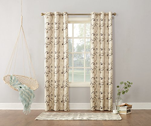 Sun Zero Brice Scroll Print Thermal Lined Curtain Panel, 40
