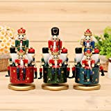 gelvs 8 inches Height Exclusive Rotating Nutcracker Wooden Soldier Figure Music Box Walnut Figurine Home Bar Festival Ornament Blue,Red,Green Color