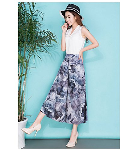 Acmede Style Jambe Large Imprimé Fluide Haute 6 Fleur Élastique Taille Pantalon Casual Été Femme Mousseline Palazzo En rZw4r