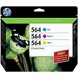 HP 564 (B3B33FN) Cyan/Magenta/Yellow Original Ink Cartridges with Photo Paper, 3 pack