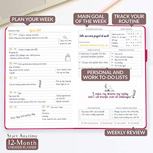 Legend Planner - Deluxe Weekly & Monthly Life Planner to Hit Your Goals & Live Happier. Organizer Notebook & Productivity Journal. A5 Hardcover, Undated - Start Any Time + Stickers - Hot Pink Gold