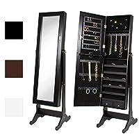 Armario de armarios con espejo de Best Choice Products con aros, collares, pulseras