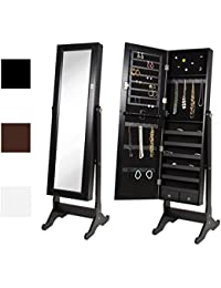 Mirrored Jewelry Cabinet Armoire w/ Stand Rings, Necklaces, Bracelets - Black