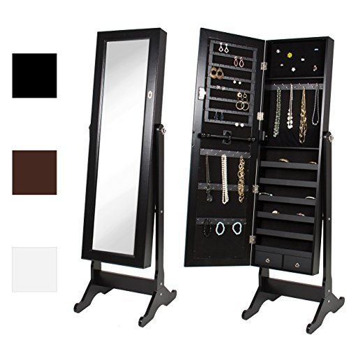 Best Choice Products Mirrored Jewelry Cabinet Armoire w/Stand Rings, Necklaces, Bracelets - Black