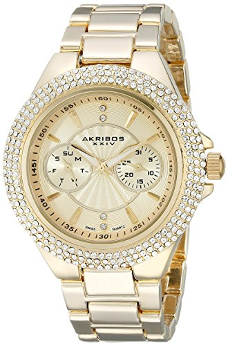 Akribos XXIV Women's AK789YG Gold-Tone Crystal Bezel Watch