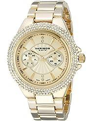 Akribos XXIV Womens AK789YG Gold-Tone Crystal Bezel Watch