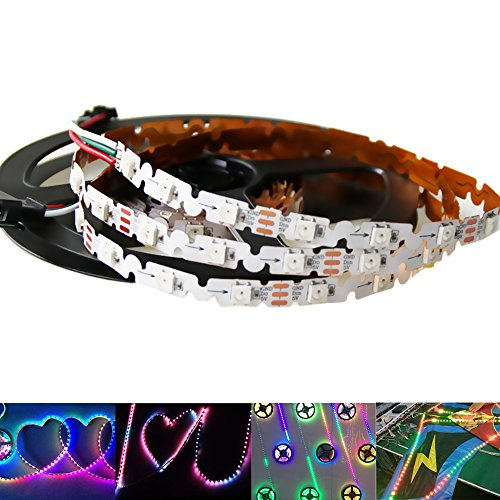 (HKBAYI 16.4FT S Shape type 240 Pixels SK6812 Programmable Addressable Full color LED Strip Light DC5V Not Waterproof (PCB)