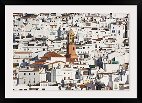 GreatBIGCanvas ''White town of Competa, La Axarquia, Malaga Province, Andalusia, Spain'' Photographic Print with Black Frame, 36'' x 24'' by greatBIGcanvas
