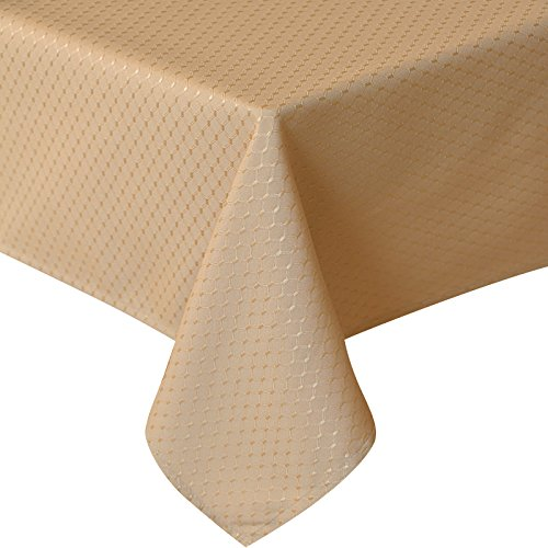 Tablecloth 60 x 120 Rectangle Waffle Check Pattern, Polyester Gold Table Cloth Oil Proof for Banquet/Party