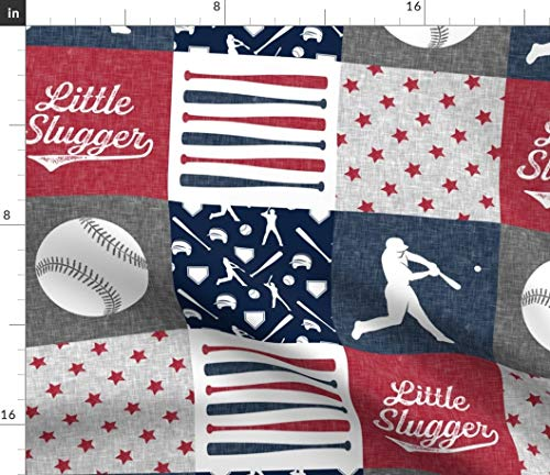 Spoonflower Little Slugger Fabric - Patchwork All American Nursery Little Arrow Baseball Baseball Nursery by Littlearrowdesign Printed on Minky Fabric by The Yard