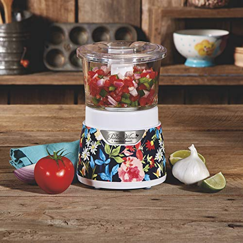 Floral Relish - Stylish and Eye Catching Pioneer Woman 3 Cup Stack & Press Glass Bowl Chopper Fiona Floral,Speeds up Food Prep by Taking Care of the Chopping,Mincing and Mixing for You