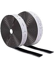 ECENCE Klittenband zelfklevend Zwart 6m, incl. meetlint in cm om de klittenbandstrip gemakkelijk te snijden binnen + buiten voor alle schone oppervlaktes Plastic Hout Porselein
