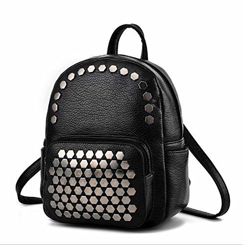 Aoligei Sac à dos sac de sac Double sac à bandoulière version coréenne fashion sac à dos simple rivet généreux d'étudiant C