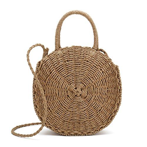 Belle Vannes Sac porté épaule sac à main sac de plage ronde en paille pour femme Original