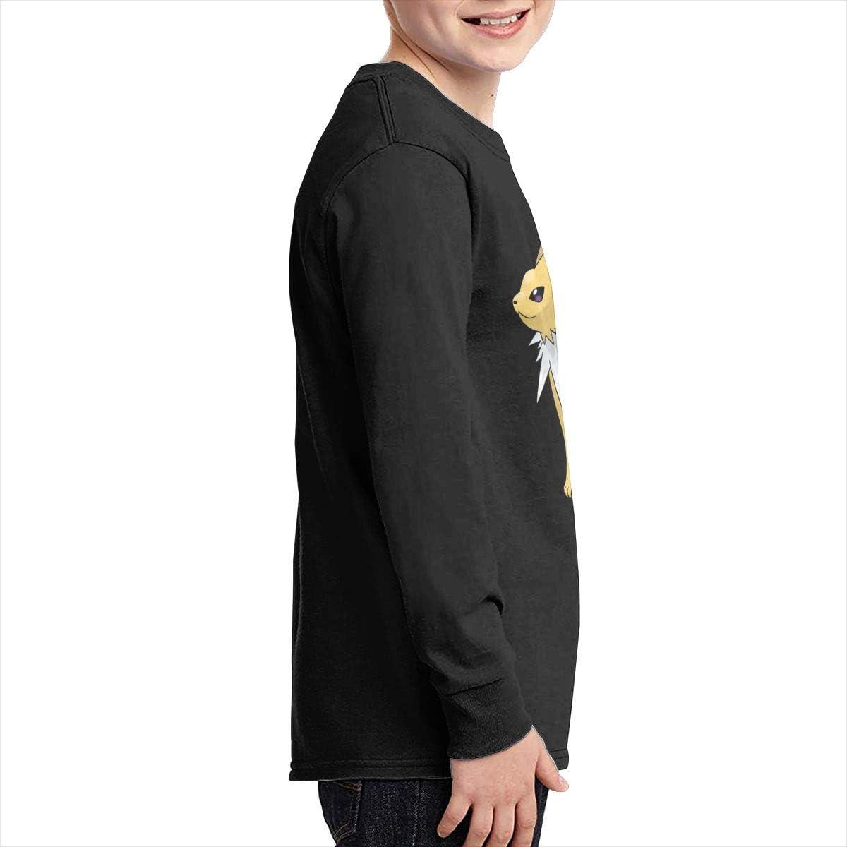 Hongansheng Trading Jolteon Cotton Leisure and Comfort Crew Neck Long Sleeve Graphic T-Shirt for Boys Girls