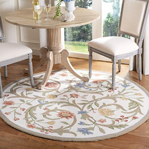 Safavieh Chelsea Collection HK248A Hand-Hooked Ivory Premium Wool Round Area Rug 4 Diameter