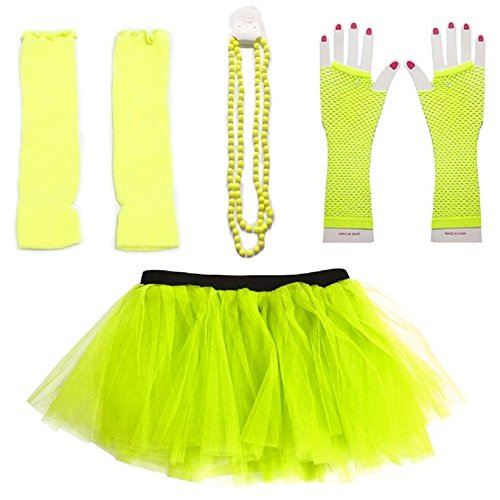 [Mystiqueshapes 80s Fancy Costume Set - TUTU & LEG WARMERS & FISHNET GLOVES & BEADS (Yellow)] (80s Costume For Kids)