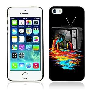 CQ Tech Phone Accessory: Carcasa Trasera Rigida Aluminio PARA Apple iPhone 5 5S - Cool TV Colors Art