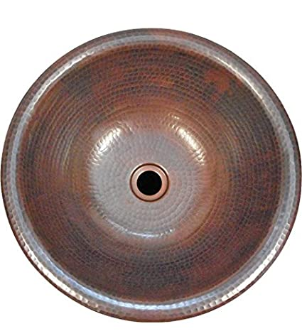 Ordinaire 15u0026quot; Round Vessel Or Drop In Hand Hammered Copper Bath Sink