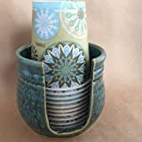 Ceramic Cup Holder - Mediterranean Sea Green FREE SHIPPING