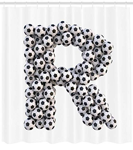 Letter R Shower Curtain Soccer Themed Pattern Abstract Alphabet Design Uppercase Character R Sign Cloth Fabric Bathroom Decor Set with Hooks Long Black and White 72