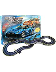 ZKW-Track 4M Rail Car Slot Car Racing Set Tracer Racers Educational Car R/C High Speed Remote Control Track Garage Gliding Track 1:43 Scale Assembling Blocks for Christmas Birthday Gifts
