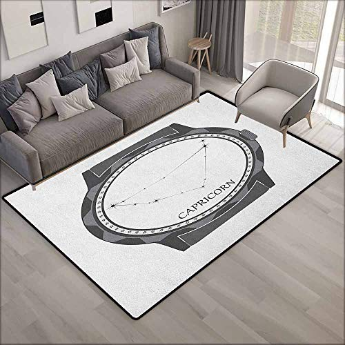 (Living Room Rug,Zodiac Capricorn Greyscale Watch Dial Design with Horoscope Constellation Motif,Rustic Home Decor,3'3