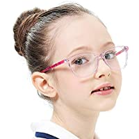 Teens Children Gray Kids Glasses with Square Clear Lens for Boys Girls(Age 5-12)