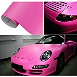HOHO Pink Auto Vehicle Body Tint Film Matte Wrap Vinyl Film Bubble Free 60''x98ft Roll